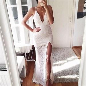 V Neck Spaghetti Strap Sleeveless Lace Overlay Prom Dress With Split