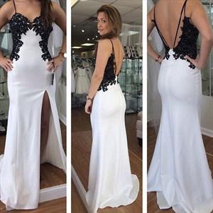 Spaghetti Strap Open Back Black Applique Satin Prom Dress With Split