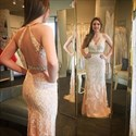 Backless V Neck Beaded Sheath Tulle Prom Dresses With Lace Applique