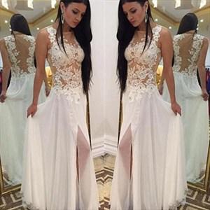 Illusion Bateau Long Chiffon Prom Dress With Lace Applique And Split