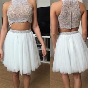 A-Line High Neck Sleeveless Beaded Short Two Piece Tulle Prom Dress