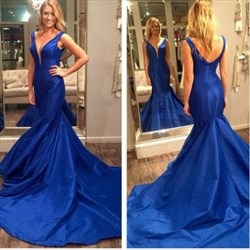 Glamorous Royal Blue V Neck Taffeta Prom Dress With Long Train