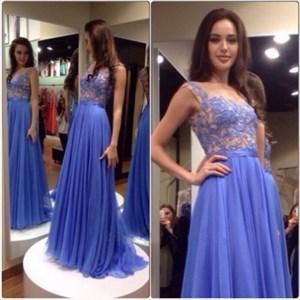 Square Neck A-Line Lace Applique Chiffon Prom Dresses With Side Drape