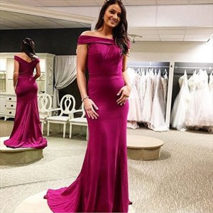 off the shoulder sleeveless sheath satin long prom dress with train
