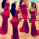 Red Strapless Floor Length Mermaid Prom Dresses With Keyhole Back
