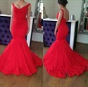 V Neck Sleeveless Scoop Back Satin Prom Dress With Ruffles