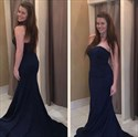 Navy Blue Sweetheart Sleeveless Mermaid Prom Dress With Sweep Train