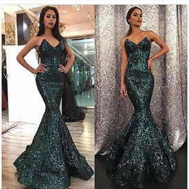 Green Sweetheart Sleeveless Mermaid Sequin Prom Dress With Ruffles