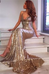 Gold Spaghetti Strap V Neck Split Sequin Long Prom Dress With Train