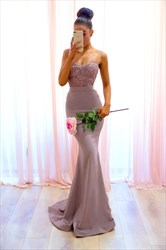 Spaghetti Strap Beaded Scoop Back Satin Prom Dress With Train