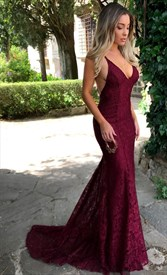 Burgundy V Neck Sleeveless Open Back Lace Overlay Prom Dresses