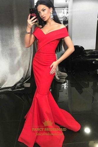 Elegant Red Off The Shoulder Sleeveless Satin Mermaid Prom Dresses