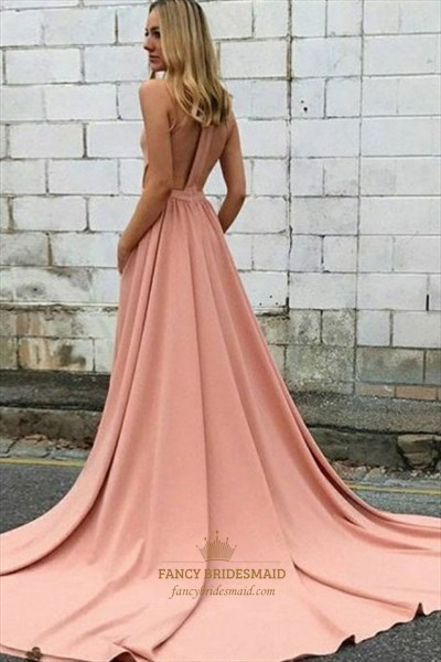 Pale Pink High Neck Cut Out Back Prom Dress With Pockets And Train