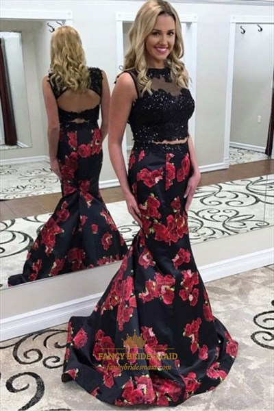 Black Beaded Keyhole Satin Floral Print Mermaid Two Piece Dress