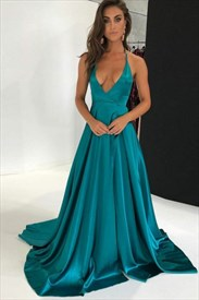 Halter Sleeveless Open Back Taffeta Maxi Prom Dress With Train