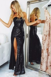 Navy Blue Sweetheart Neckline Sheath Sequin Prom Dress With Slits