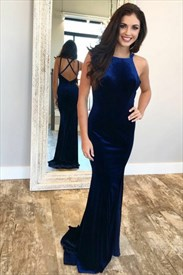 Elegant Royal Blue Sleeveless Cross Strap Floor Length Prom Dresses