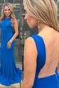 Simple Blue Bateau illusion back Chiffon Prom Dresses With Train