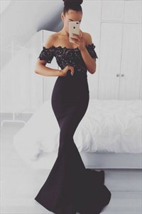 Black Off The Shoulder Short Sleeve Mermaid Lace Satin Prom Dress