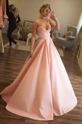 A Line Sweetheart Sleeveless Pleated Floor Length Satin Prom Dress