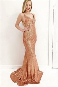 Orange V Neck Spaghetti Strap Cross Back Sequin Mermaid Prom Dress