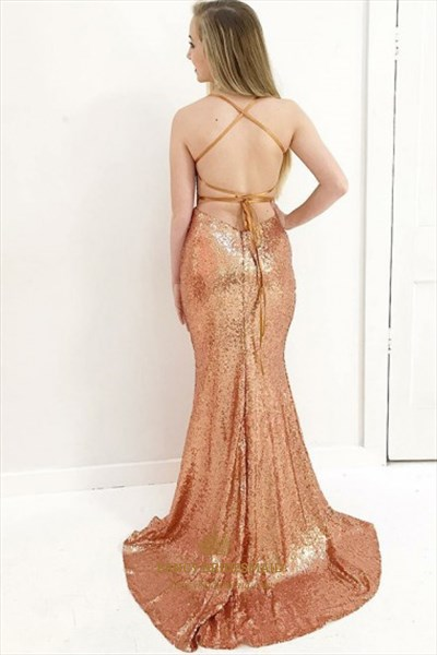 Orange V Neck Spaghetti Strap Cross Back Sequin Mermaid Prom Dress