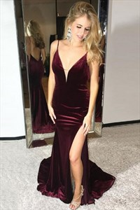 Elegant Burgundy V Neck Sleeveless Mermaid Prom Dress With Split
