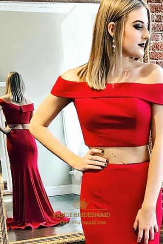 Red Off The Shoulder Floor Length Two Piece Mermaid Prom Dress