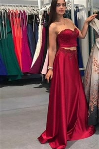 Sweetheart Sleeveless Two Piece Satin Prom Dress With Lace Applique