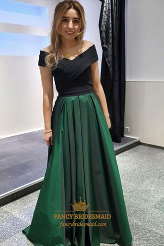 A Line Off The Shoulder Sleeveless Satin Prom Dress With Pleats