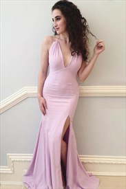 Pink Halter Neck Sleeveless Ruched Mermaid Prom Dress With Split