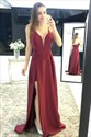 Burgundy A Line Deep V Neck Spaghetti Strap Prom Dress With Split