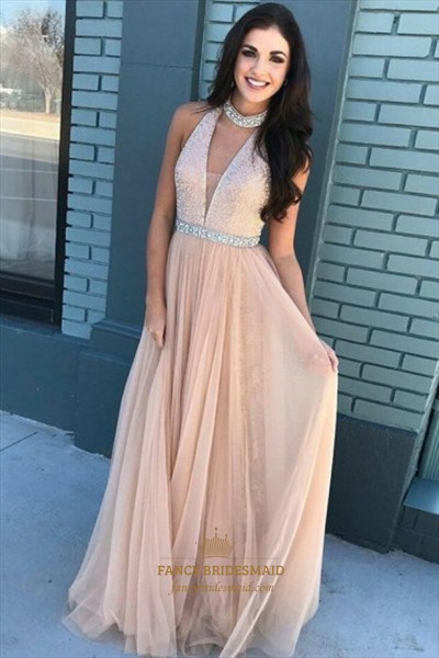 Halter Floor Length Sequin Top Tulle Prom Dresses With Beaded Waist