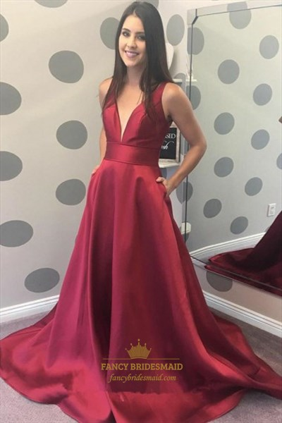 A Line Deep V Neck Sleeveless Satin Burgundy Prom Dress With Train
