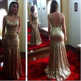 Gold Bateau Beaded Sheer Back Pleats Sequin Prom Dress With Appliques