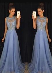 Light Blue A Line Beaded Bodice Keyhole Floor Length Prom Dress