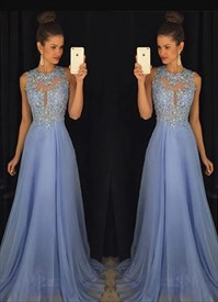 Light Blue A Line Beaded Bodice Keyhole Floor Length Prom Dress