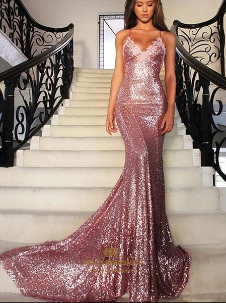 Spaghetti Strap Backless Sheath Sequin Long Prom Dress With Train