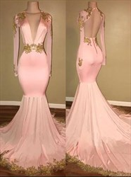 V Neck Long Sleeve Open Back Mermaid Prom Dress With Lace Applique