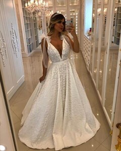 Simple A-Line Deep V Neck Sleeveless Beaded Lace Overlay Prom Dress
