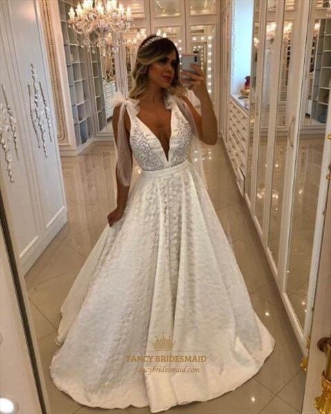 Simple A-Line Deep V Neck Sleeveless Beaded Lace Overlay Prom Dress