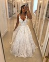 White Spaghetti Strap Sleeveless Lace Wedding Dress With Flowers