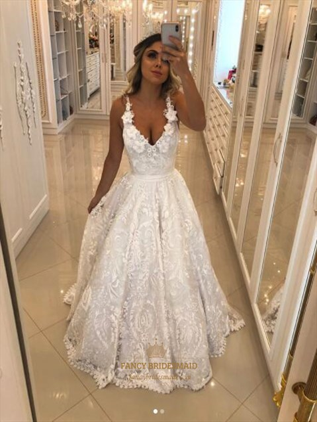 f628f44f4510 White Spaghetti Strap Sleeveless Lace Wedding Dress With Flowers ...