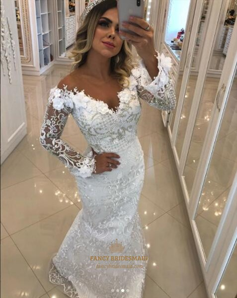 V Neck Long Sleeve Beaded Sheath Lace Long Prom Dress With Flowers