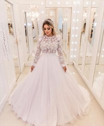 Princess Lace Top Tulle Ball Gown Wedding Dress With Lace Sleeves