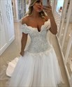 A Line Off The Shoulder Beaded Bodice Tulle Wedding Dress With Train
