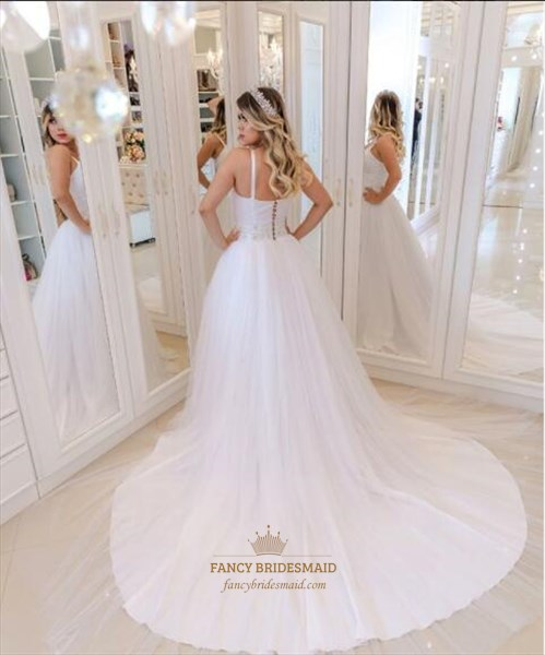 Spaghetti Strap Long Tulle Wedding Dress With Crystals And Long Train