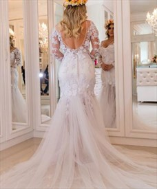 Long Sleeve Keyhole Lace Applique Tulle Wedding Dress With Long Train