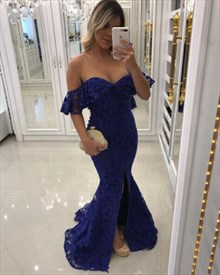 Blue Sweetheart Cap Sleeve Lace Overlay Mermaid Prom Dress With Slits