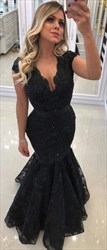 Black V Neck Cap Sleeve Tiered Lace Floor Length Mermaid Prom Dress